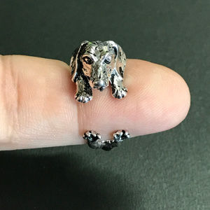 Dachshund Dog Adjustable Antique Silver Tone Ring, used for sale
